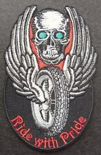 RIDE WITH PRIDE WINGED SKULL - SEW ON BIKER MOTORCYCLE PATCH