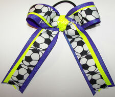 Soccer Hair Bow Neon Yellow Purple Sparkly Ribbon Kids Ponytail Ties Bulk Price