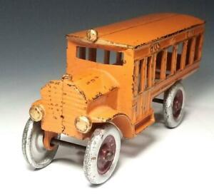 "1920's Rare DENT HARDWARE Cast Iron ""BUS LINE""  Yellow Cab Colors BEAUTIFUL BUS"