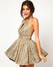Francesca Couture Gold Sequin Tutu Dress Size 10 - 12 Skater Mini Halterneck