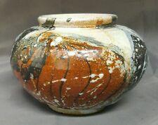 Handmade hand thrown signed glazed art pottery vase DuPuis