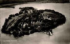 Insel Mainau Bodensee Postkarte 1956 Totale mit Schloss Schiffsanleger Luftbild