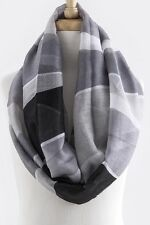 B44 Mixed Color Colorblock Lightweight Gray & Black Infinity Scarf Boutique