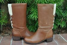 UGG Cary Wool Women's Leather Whiskey Lace-Up Boots Size US 8 UK 6.5 NIB