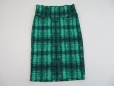 LuLaRoe Womens Bright Green Plaid Cassie Pencil Skirt Size Small Polyester Check