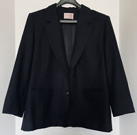 Pendleton Women's Petite Blazer Black Size 14  Pure Virgin Wool Made in the USA!