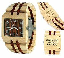 Wood Watch - Men's ladies watches - Customize - Personal Message Laser Engraving