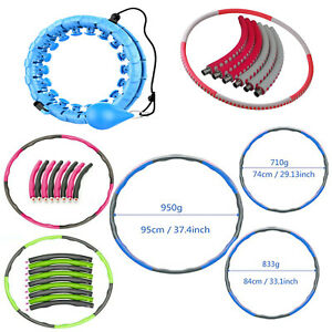 1KG Weighted Collapsible Hula Hoop Padded Abs Exercise Gym Workout Abdominal .