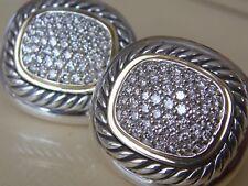 $3950 DAVID YURMAN 18K GOLD,SS ALBION LARGE DIAMOND EARRINGS