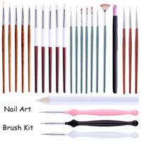Nail Art Brush Kits Liner Flat UV Gel Drawing Painting Pen Carving Wax Picker