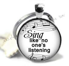 Sing Like No One's Listening Glass Top Key Chain Music Teacher Musical Gift Idea
