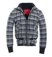 pour femmes laine veste à carreaux Manteau dames taille 8 10 12 14 bleu marine