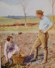 1917 WWI WW1 CANADIAN ARMY PRINT SOLDIER TALKING TO YOUNG FRENCH WOMAN IN FIELD