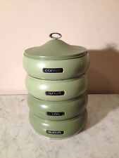 LINCOLN BeautyWare 50's Retro Round Metal Stacking Kitchen Canisters in Olive