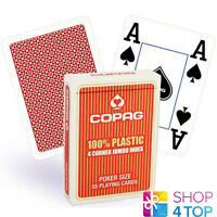 COPAG 4 CORNER 100% PLASTIC POKER PLAYING CARDS CASINO DECK JUMBO INDEX RED NEW