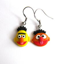 Bert and Ernie Funny Orange Yellow Polymer Clay Handmade Gifts Earrings Jewelry