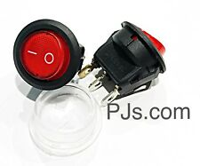12v 16A LED Red Light Round Rocker ON/OFF Switch Plus Waterproof Cover x 1pc