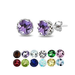 Sterling Silver Gemstone Birthstone Crown Stud Earrings