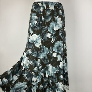 Jacques Vert Green Floral Lined Long Skirt Size S