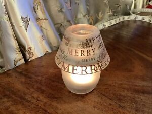 Merry Christmas Glass Lamp And Shade Tea Light Holder