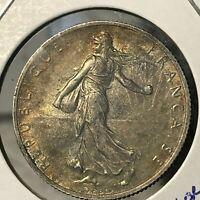 1918 FRANCE SILVER 2 FRANCS HIGH GRADE COIN