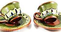 Troyan pottery Bulgarian redware Pair of GREEN demitasse Cups & saucers