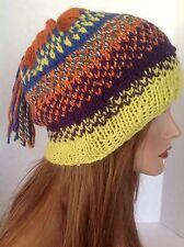 Hand Knit Hat Beanie Slouch Beret Fringe Tassell Multicolr Designer Hip Fashion