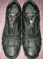 Vintage men's Polo Sport black leather ankle boots with front zipper size 8