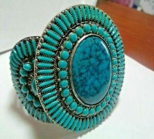 """Vintage Sancrest Faux Turquoise Southwestern Cuff Bracelet LARGE 3"""""""