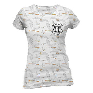 Official Harry Potter Hedwig Pattern T Shirt White Sublimation Ladies S M XLXXL