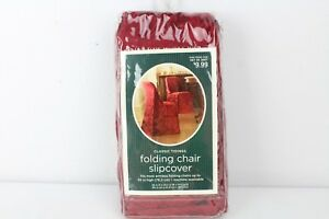Classic Tidings Folding Chair Slipcover for Armless Chair up to 30in Maroon
