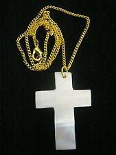BULK SALE 14 MOTHER OF PEARL CROSS Pendants on 45cm GOLD Plated Chains BRAND NEW
