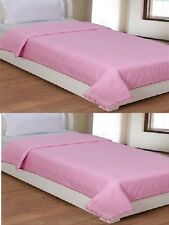 Set of 2 Cotton Floral Bordered  Single Bed Top Covering Sheet - Pink