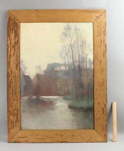 Antique ALBERT GIHON American Impressionist Atmospheric Landscape Gilt Oak Frame