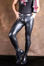 Sexy Faux Leather Trousers Slim Punk Elastic Stretch Clubwear Pants Men Casual