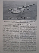 4/1947 ARTICLE 2 PAGES CARIBBEAN CARAIBES WEST INDIES BWIA BSAA SHORT PLYMOUTH