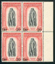 1942 San Marino Delfico sovrastampato lire 20 nuovo ** quartina bordo