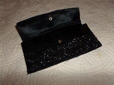 Handmade Vintage Designer black - beaded clutch bag