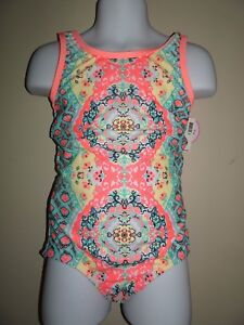 NWT JUSTICE SIZE 6 SUNNY PRINT ONE PIECE SWIMSUIT TRENDY ORANGE BLUE YELLOW