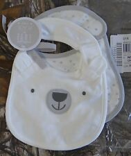 The Children's Place white w gray stars & bear face cotton Baby Bib (Pack of 2)