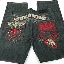"""Delf Trading Imperious Jeans Size 36"""" x 34"""" Men's Embroidered Embellished"""