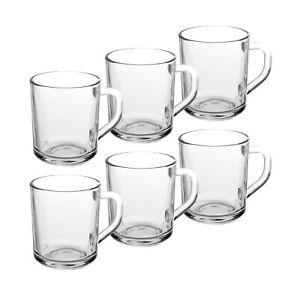 6 x Clear Glass Latte Cappuccino Tea Coffee Cups Mugs Hot Chocolate Glass 240ml