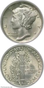 1924 Mercury Dime PCGS MS64 FB CAC