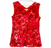 Capture Womens Red/Pink Floral Sleeveless Lined Blouse Size 10