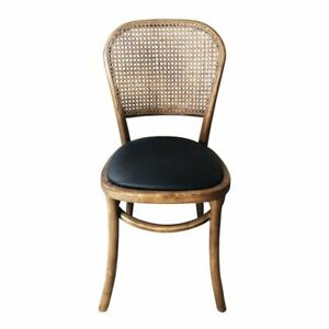 "16"" W Set of 2 Dining Chair Solid Elm Wood Frame Woven Rattan Black Vinyl Seat"
