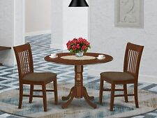 3pc dinette kitchen dining set round pedestal table w/ 2 padded chairs mahogany