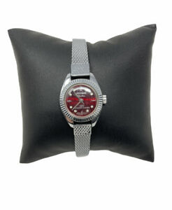 Kronotron Electra 360 Watch Red Face Silver Band Needs Repair Does Not Work