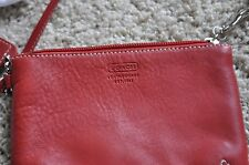 COACH FACTORY Orange Leather Zip Top Handle Coin Cosmetic Wristlet Purse NWT