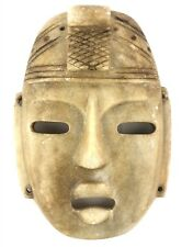 Vintage Pre-Columbian Onyx Stone Carved Face Mask 10""