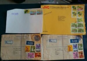 Singapore, 8 x Air Mail Envelopes to the UK. Postmarks;-1970's/1990's. 28 Stamps